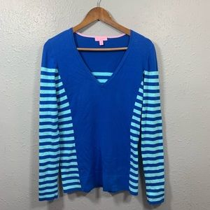 LILLY PULITZER Blue Striped V-Neck Sweater Size M